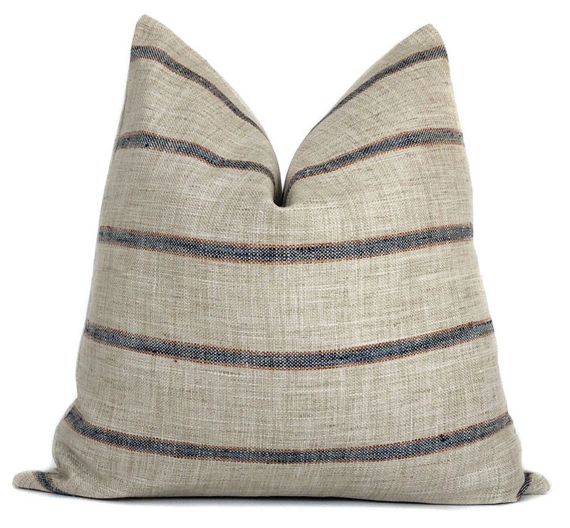 Farmhouse Stripe Pillow Cover | Rustic Woven | Blue and Rust | No9021