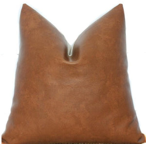 Faux Leather Pillow Cover in Bourbon