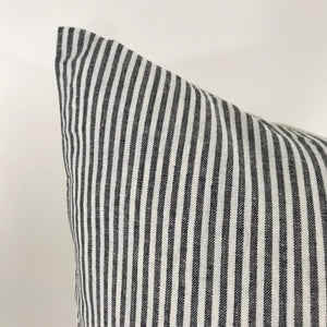 Black and White Striped Lumbar Pillow Cover | No4021