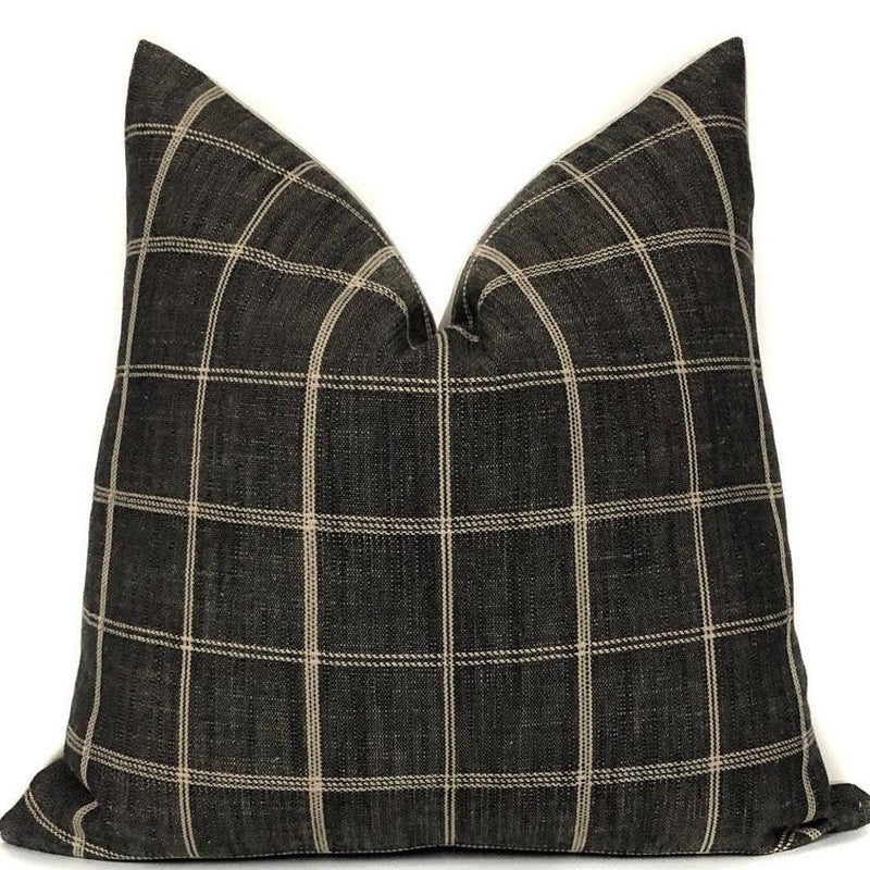 Peppercorn Windowpane Pillow Cover