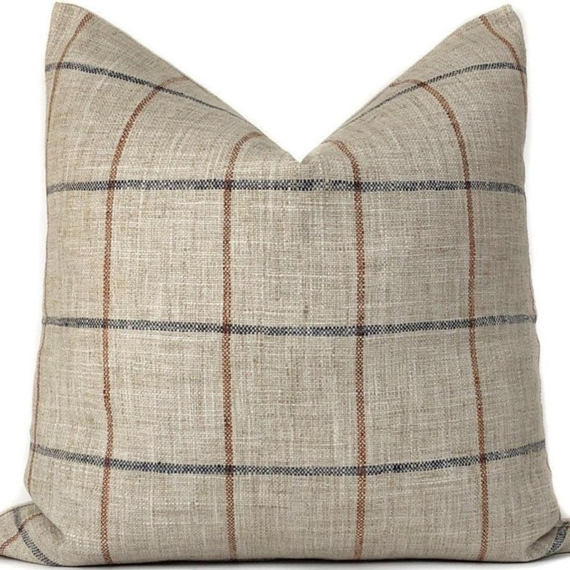 Rustic Woven Windowpane Pillow Cover | Plaid Blue and Rust | No6010