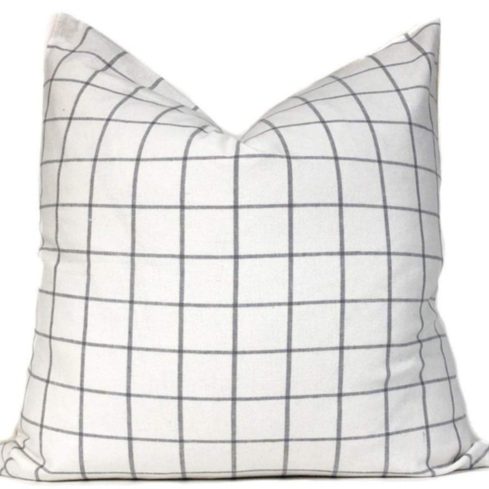 White + Gray Windowpane Pillow Cover | No6012x