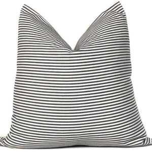 Black and White Ticking Stripe Pillow Cover | RFTSB