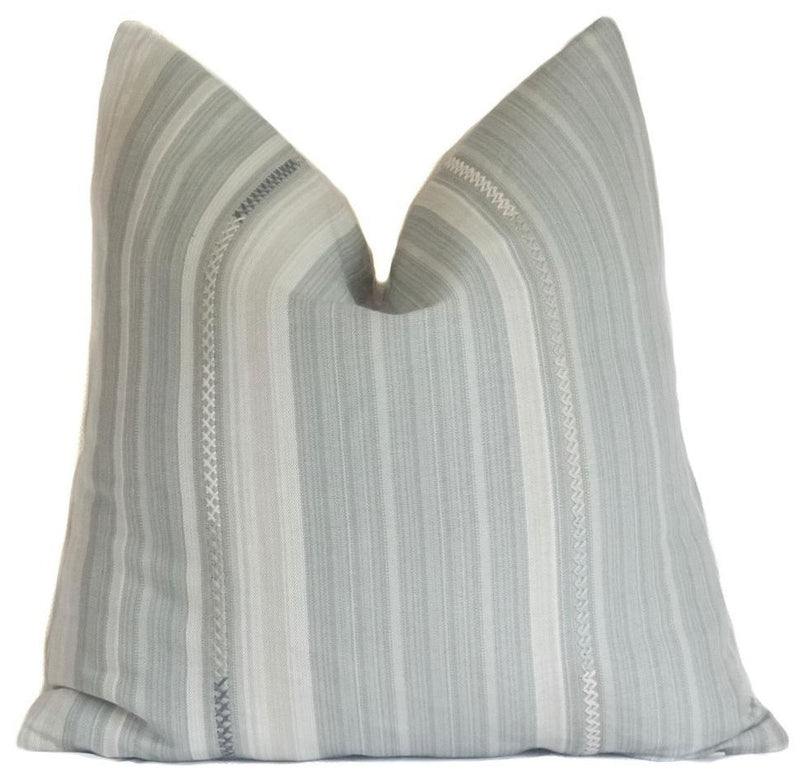 Bordado Designer Pillow Cover in Claro | Woven | | Grey, Cream, Beige | No9013