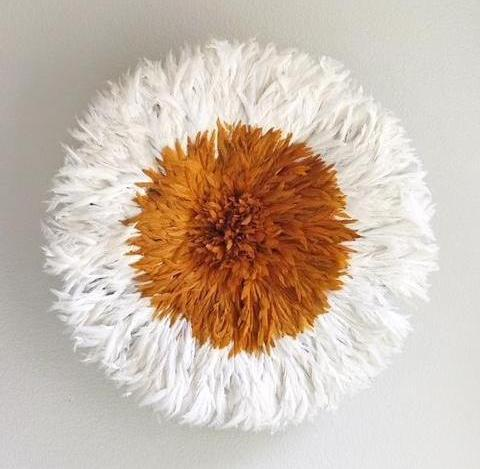 African Juju Hat | Orange + Cream