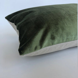 Olive Green Velvet Pillow | Velvet Lumbar | No454x
