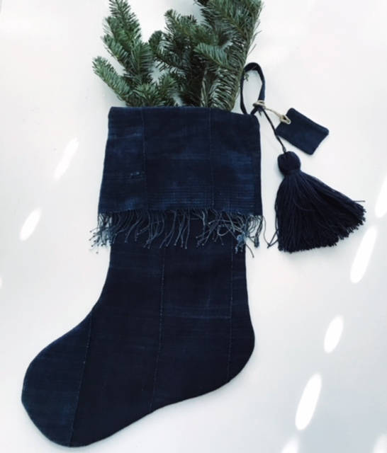 Indigo Christmas Stocking | Vintage