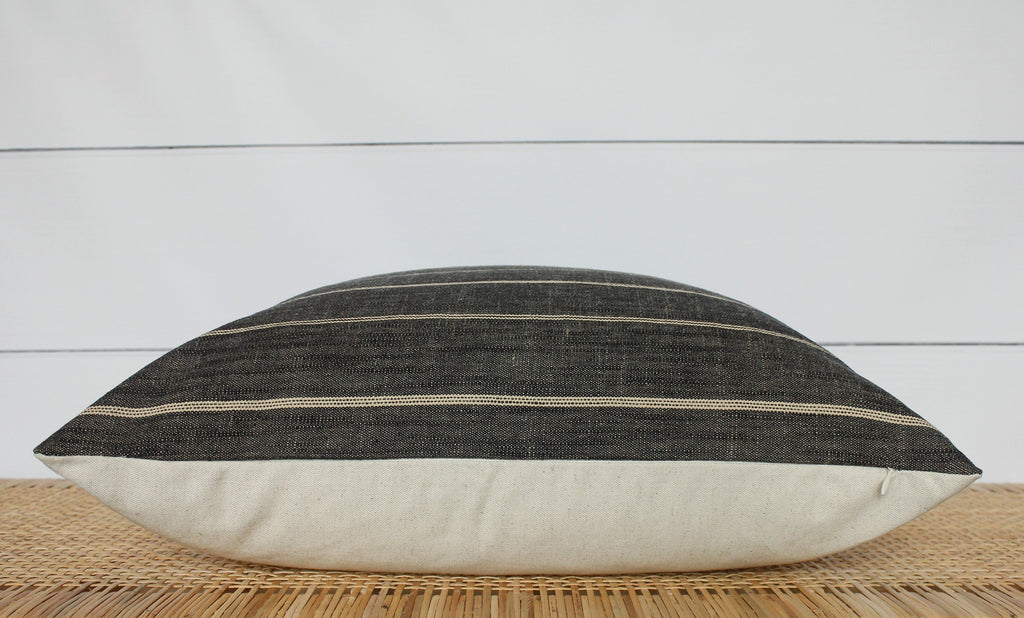 Dark Grey Stripe Pillow Cover | 18x18 | No303