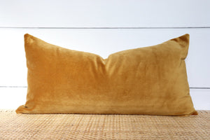 Gold Velvet Pillow | Velvet Lumbar | 12x24 | No8004