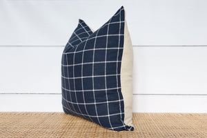 Navy Blue and White Windowpane Pillow Cover | No8021