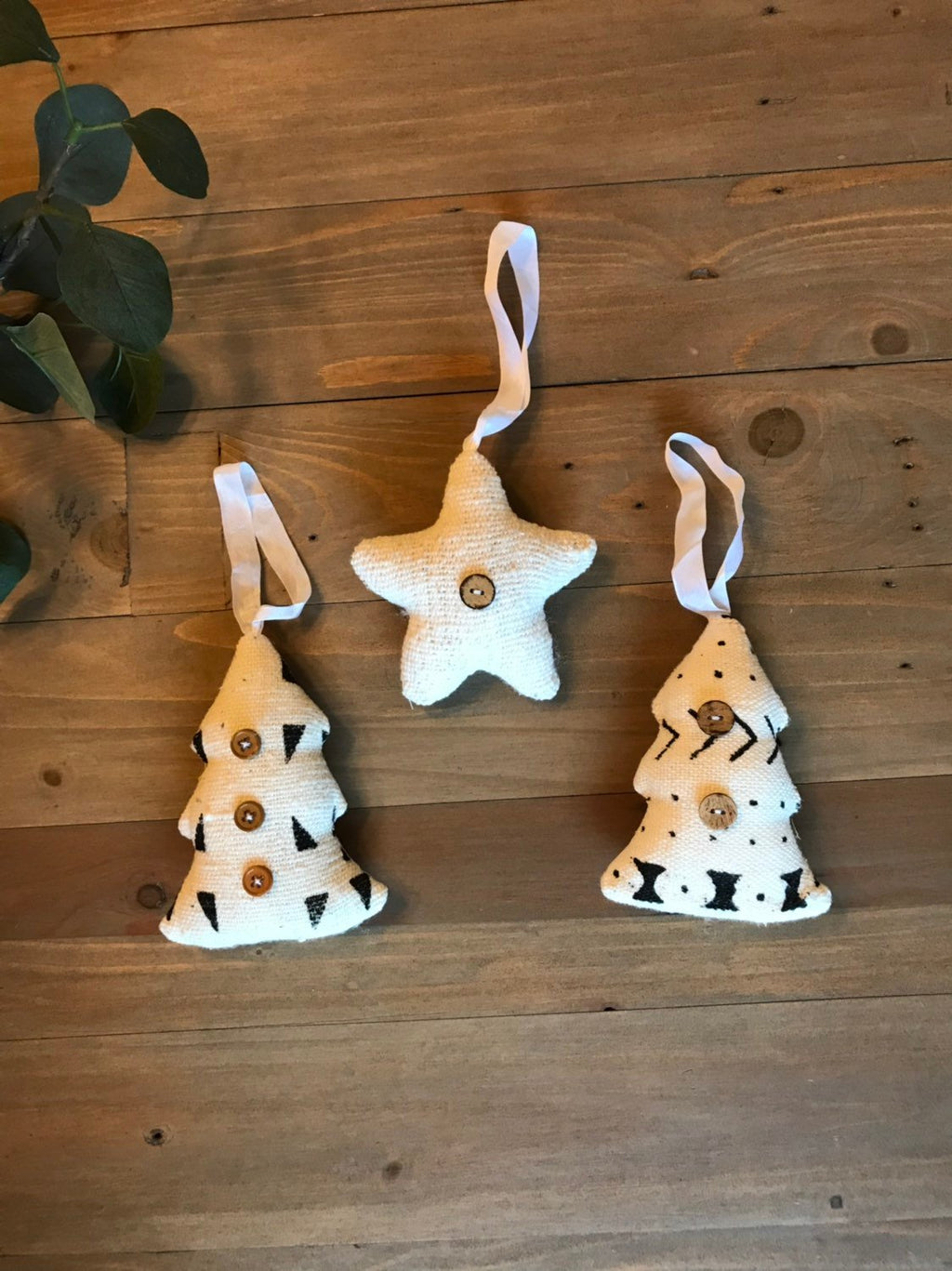 Mudcloth Christmas Tree Ornaments | Set of 3