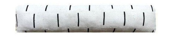 12x48 Mudcloth Pillow Cover | Cream + Black Lumbar | Authentic African Mud Cloth | No113