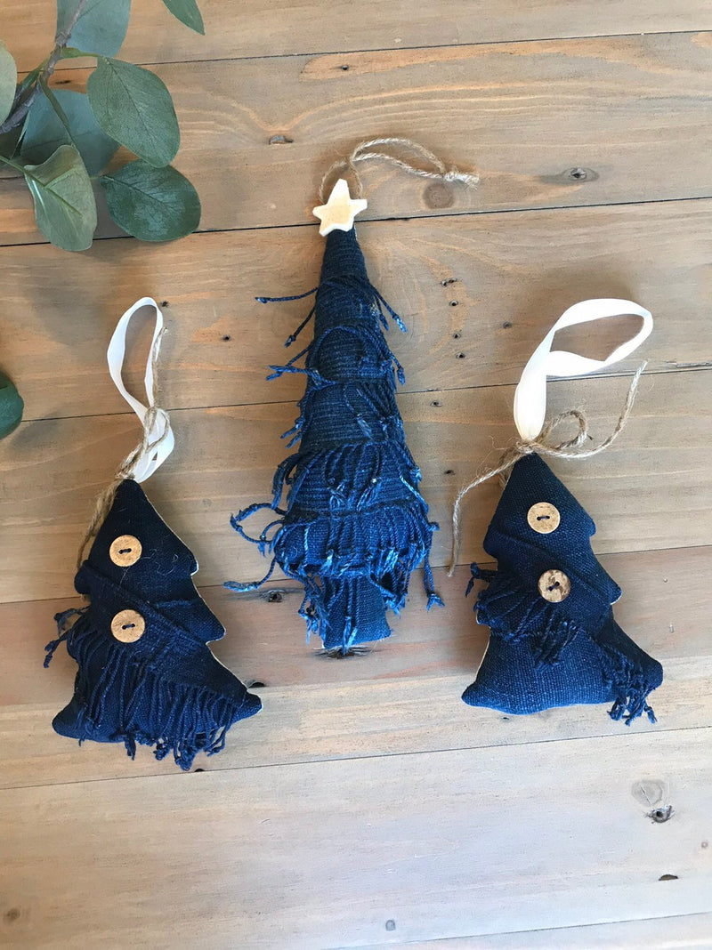 Vintage African Indigo Mudcloth Christmas Tree Ornaments | Set of 3