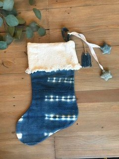 Christmas Stocking with Ornaments | Cream Mudcloth + African Indigo | Boho Holiday Decor