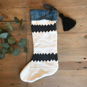 Mudcloth and Indigo Christmas Stocking