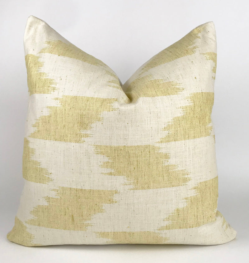 Yellow and Natural Ikat Pillow Cover | 22x22