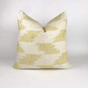 Yellow and Natural Ikat Pillow Cover | Soft Yellow | Decorative Throw Pillow | 20x20