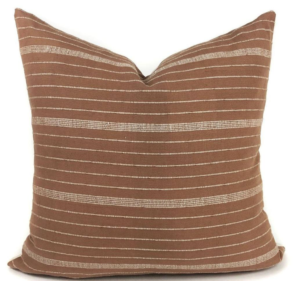 KUFRI Cusco Stripe Pillow Cover | Designer Pillow in Terracotta | Rust and White Stripe | Modern Farmhouse Pillow