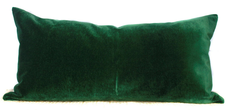 Green Velvet Pillow | Velvet Lumbar | 14x20 | No454