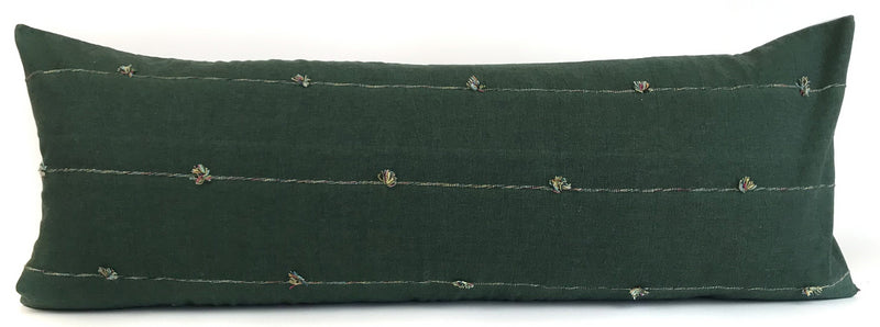 Green Lumbar Pillow Cover | Woven Green + Rainbow Line | 14x36 | GLPC1