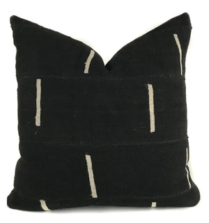 African Mudcloth Pillow Cover | Black with White Dash Line | NoM20