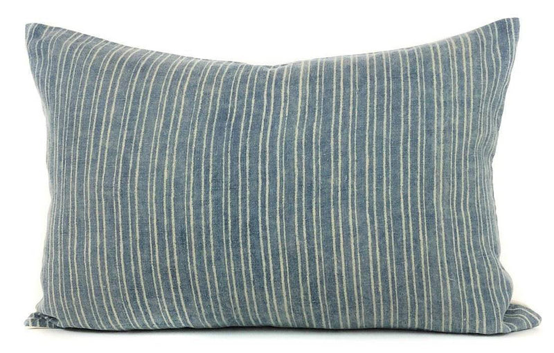Vintage Blue and White Stripe Pillow Cover | Designer Pillow