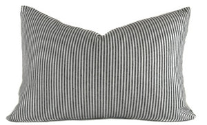 Black and White Striped Lumbar Pillow Cover | No4020