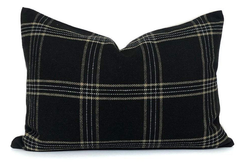 Dundee Pillow Cover in Jet | Black White and Tan Plaid Pillow