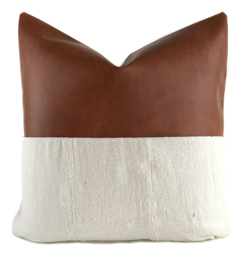 Faux Leather + Cream Mudcloth Pillow Cover | Farmhouse Pillow | No4021