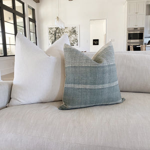 Indian Wool in Slate and Beige and White Ticking Stripe PIllow Covers