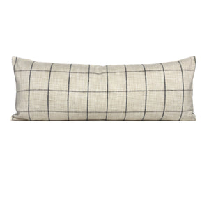Rustic Woven Windowpane Pillow Cover | Cream and Black | No302