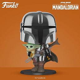 "Coming Soon: Pop! Star Wars™ - 10"" Chrome Mandalorian with the Child."
