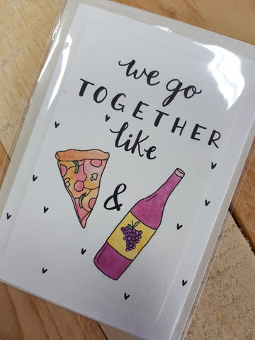 That Freckle, Pizza & Wine Hand Drawn Card.