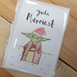That Freckle, Yoda Merriest 02 Hand Drawn Card.