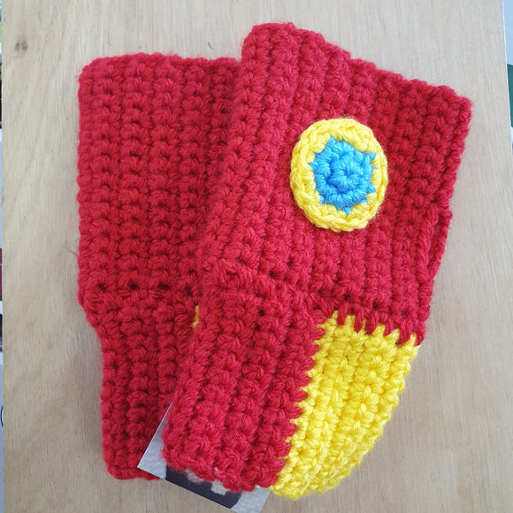 Hand Crocheted Iron Man Finger less Adult Gloves
