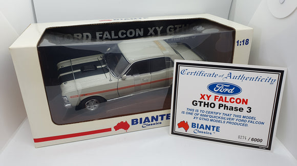 BIANTE 1:18 FORD XY FALCON GTHO PHASE 3 Quicksilver Die Cast Car