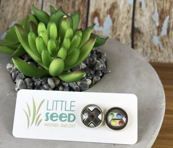 Little Seed Glass Tile Gamer Earings