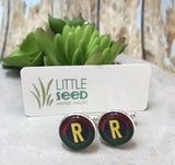 Little Seed Glass Tile Robin Cuff Links