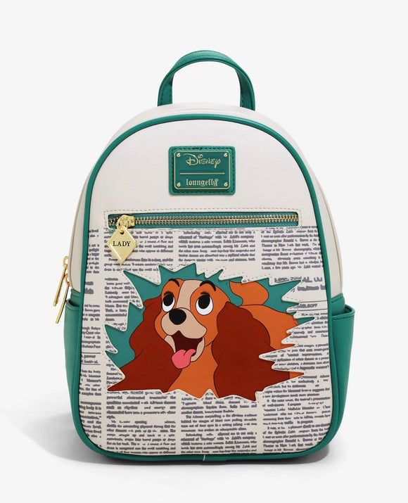 Disney - BoxLunch Exclusive Loungefly Lady and the Tramp Newspaper Mini Backpack