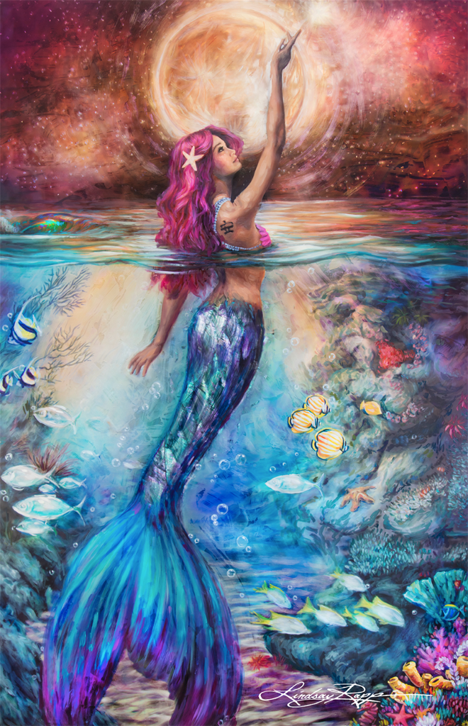 """Moonlit Siren"" <br/> Original Painting <br/> in Private Collection <br/> at Los Alamitos, California"