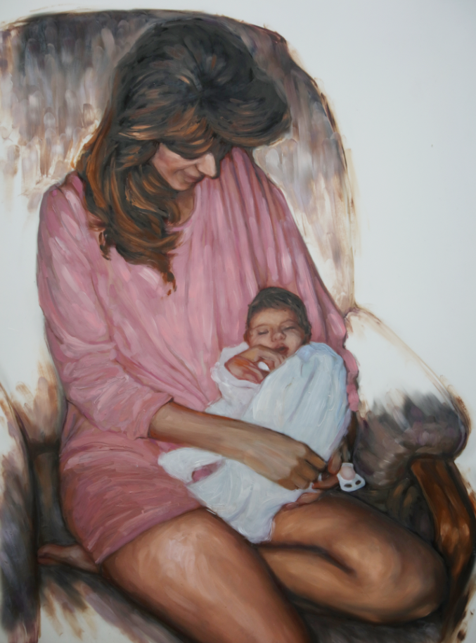 """Motherly Love"" <br/> Original Painting <br/> in Private Collection at Philadelphia, Pennsylvania"