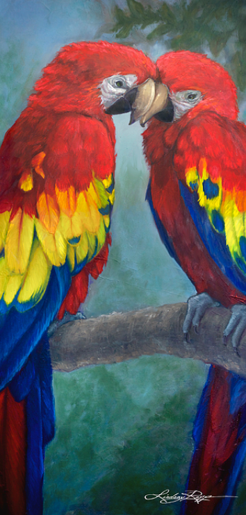 """Love Birds"" Paint Texture Print Sale"