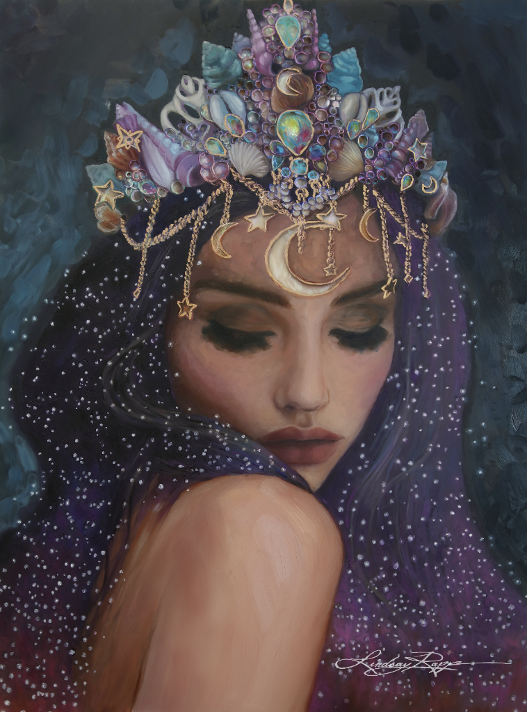 """Celestial Goddess"" <br/> Original Painting <br/> In Private Collection at Westminster Massachusetts <br/>"