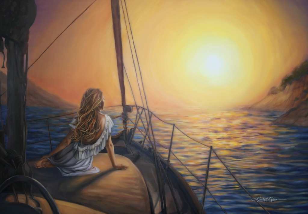"""Voyage"" <br/> Original Painting <br/> in Private Collection <br/> at Santa Barbara, California"