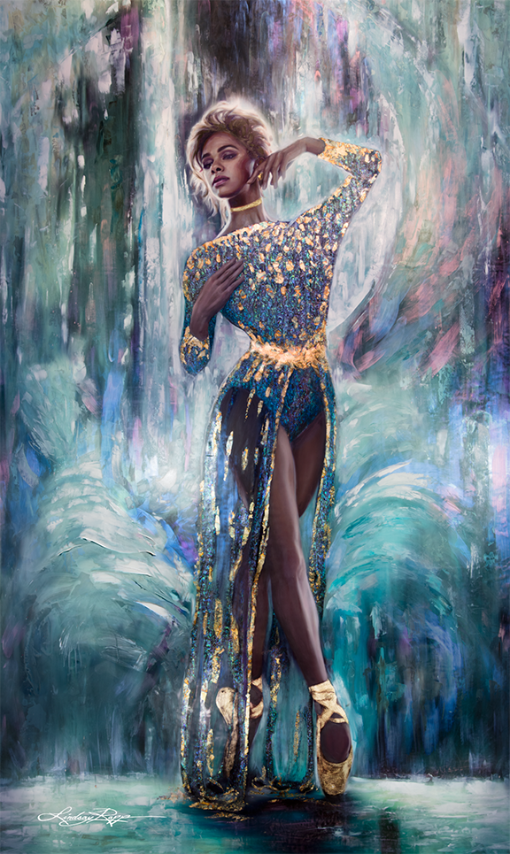 """Misty Copeland"" <br/> Original Painting <br/> in Private Collection at Dubai, United Arab Emirates <br/>"