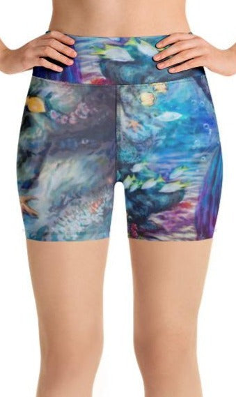 """Moonlit Siren"" Yoga Shorts"