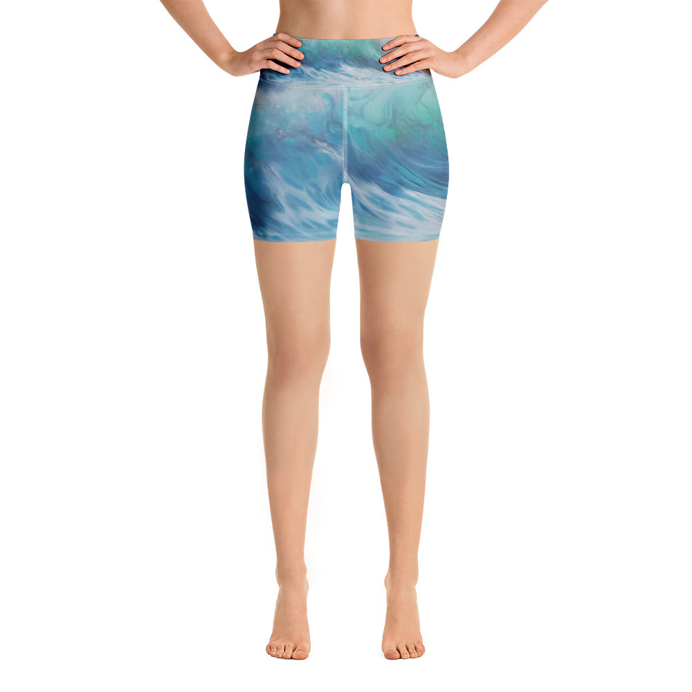 """Summer Wave"" Yoga Shorts"