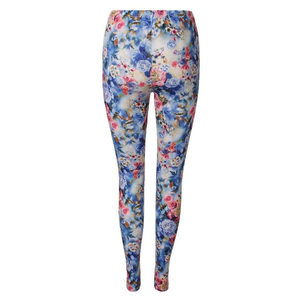 Color Leggings All-Over Blumen Design Blau - lulyfashion-entdecke-jetzt-deinen-fashion-online-store