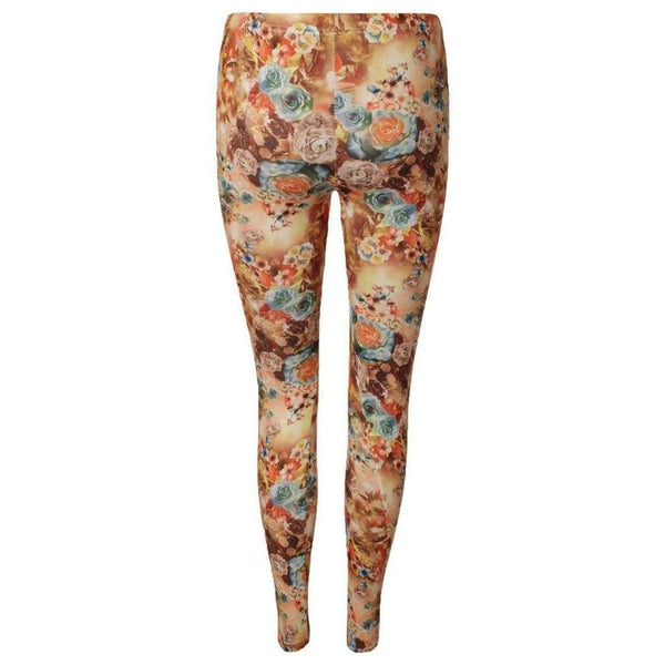 Color Leggings All-Over Blumen Design Braun - lulyfashion-entdecke-jetzt-deinen-fashion-online-store
