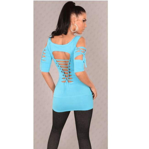 Sexy Longshirt Mit Dirty Rissen Turquoise - Urban Top